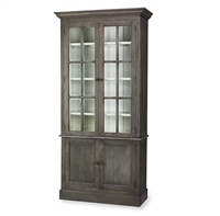 Bramble walton smokey grey pearl white finish display cabinet glass doors beadboard adjustable shelves hidden storage