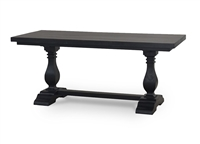 wood dining table rectangle black trestle
