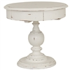 Bramble gloucester white harvest finish end table mahogany distressed pedestal base