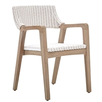 white woven rattan dining arm chair gray wood contemporary coastal