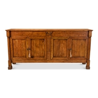 wood credenza, traditional credenza, medium brown wood sideboard, 4-door sideboard, traditional dining room furniture, traditional furniture