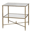 rectangle side lamp accent table antiqued gold leaf iron mirror top tempered glass shelf