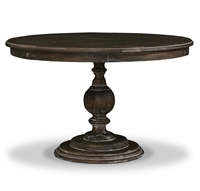 wood dining table round distressed cocoa 4' pedestal