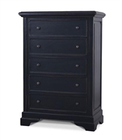 wood chest 5-drawers distressed black rustic tall highboy