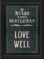rules of a gentleman love framed wall art