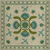 vinyl floor mat square rug beige folk art birds beige aqua green
