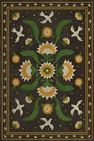 vinyl floor mat rectangle rug folk art black, green, gold birds flowers