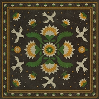 vinyl floor mat square rug folk art black, green, gold birds flowers