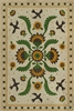 vinyl floor mat rectangle rug folk art ivory, green, yellow, birds flowers