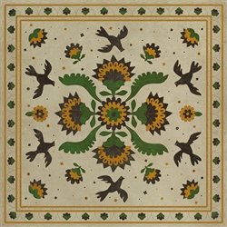 vinyl floor mat square rug folk art ivory, green, yellow, birds flowers