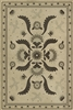 vinyl floor mat rectangle rug folk art black, ivory, gray, birds flowers