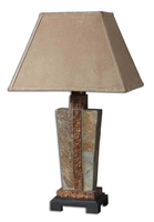slate copper table lamp tan suede shade