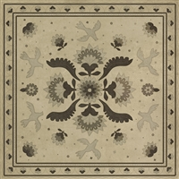 vinyl floor mat square rug folk art black, ivory, gray, birds flowers