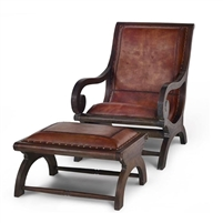 lazy chair footstool brown leather