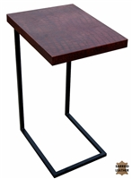 rectangle laptop table black iron stand brown croc leather top