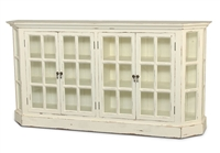 wood media console natural glass door