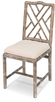 Sarreid, Ltd. dining chair bamboo natural oak whitewashed linen seat
