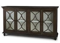 brown exterior off-white interior distressed X's shelves glass doors buffet
