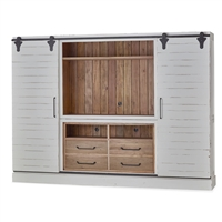 Bramble sonoma white driftwood finish open top media cabinet mahogany sliding doors wood large
