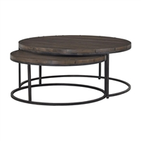round nesting coffee table midnight iron dark brownish black wood slat top