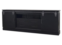 wood media console metal hardware black sliding doors