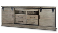 wood media console black hardware gray