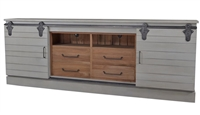 wood media console black hardware cocoa sliding doors White Charlestone + Driftwood Finishes