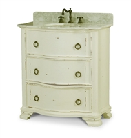 single sink vanity wood waved front ring pulls marble top distressed off-white