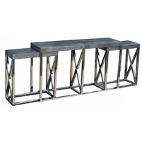3 nesting console tables two sizes silver metallic leather top stainless steel frame bases contemporary