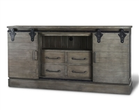 Bramble sonoma smoke grey finish media console cabinet entertainment sliding doors drawers