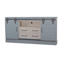 media cabinet drawers sliding doors shelves grey blue finish