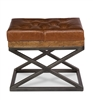ottoman footrest stool leather brown wood iron gun metal X-frame