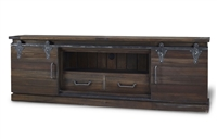 Bramble sonoma cocoa finish media console wood sliding doors drawers entertainment cabinet