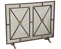 fireplace screen iron panel mesh square triangles bronze brass geometric contemporary modern stand