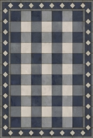 vinyl floor mat rectangle rug gingham navy blue white check