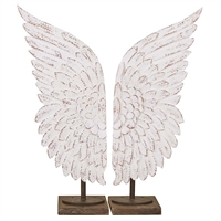 angel wings stands wood distressed white large tall pair