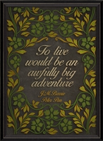 wall art black yellow green leaves J.M. Barrie Peter Pan