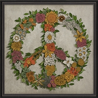 Unique Peace Sign Wall Art - USA Made Floral Print By Spicher & Co. | BSEID