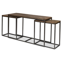 3 nesting console tables two sizes driftwood finish parquet top iron frame transitional