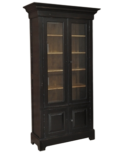 solid walnut bookcase ebony finish with shelves glass doors