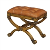 fruitwood finished X-frame base brown tufted leather seat stool