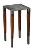 square table dark walnut wood finish hammered iron silver transitional small