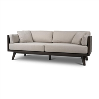sofa dark blackish brown wood frame taupe loose cushions splayed legs