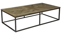 cocktail coffee rectangle table iron frame parquet wood natural