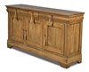 buffet sideboard wood walnut driftwood 3-drawers 3-doors removable shelves moldings