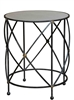 black iron antique brass accents round aged white marble