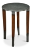 round table dark walnut wood finish hammered iron silver transitional small