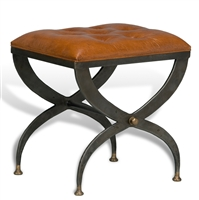 Luxury Designer Iron Bench w/ Leather Tufted Cushion - Mathsson Stool