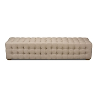 tufted bench beige linen