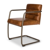 brown leather armchair aged metal
